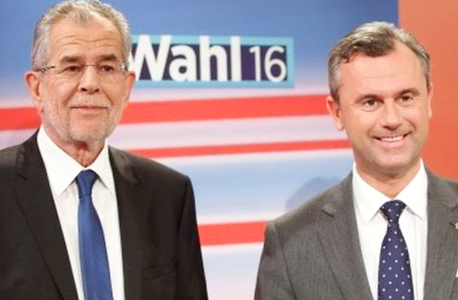 המועמדים לנשיאות אוסטריה מימין נורברט הופר ואלכסנדר ואן דר בלן