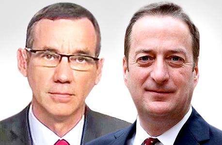 מימין דיוויד קוארי שגריר בריטניה בישראל ומארק רגב שגריר ישראל בבריטניה