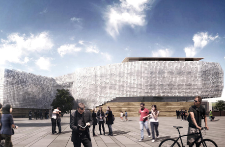 הדמיית הבניין. ענן אמורפי מ-15 אלף ריבועי זכוכית