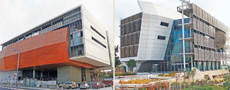 מימין: הפקולטה למדעי הסביבה ובניין מוזיאון אוספי הטבע בקמפוס אוניברסיטת תל אביב