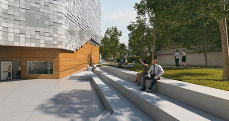 הדמיית הכניסה לבניין צ'ק פוינט בקמפוס אוניברסיטת תל אביב