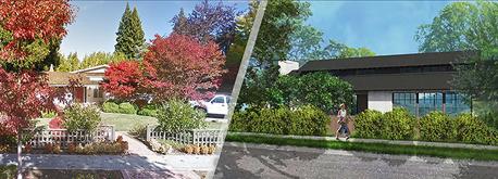 מימין הבית שהציע מארק צוקרברג לבנות מחדש פאלו אלטו ובית כיום, צילום: walker warner architects