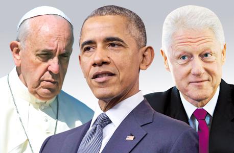 מימין ביל קלינטון ה נשיא ברק אובמה  ה אפיפיור פרנסיסקוס, צילום: אורי לנץ, בלומברג, אי פי איי