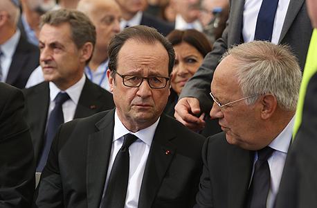 נשיא צרפת פרנסואה הולנד ב לוויה הלוויה של שמעון פרס, צילום: גיל יוחנן