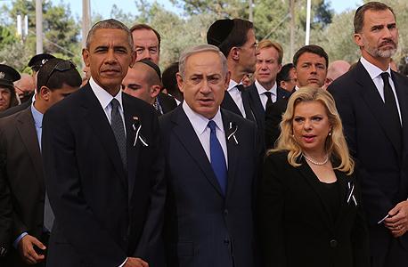 שרה נתניהו בינימין נתניהו ו ברק אובמה ב לוויה הלוויה של שמעון פרס, צילום: גיל יוחנן