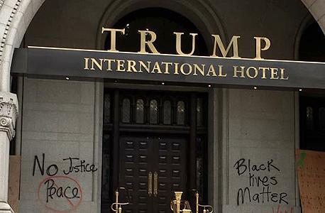 גראפיטי מלון טראמפ וושינגטון, צילום: twiiter@AprilDRyan