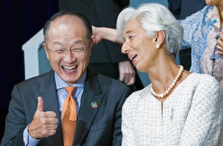 """יו""""ר קרן המטבע כריסטין לגארד ונשיא הבנק העולמי ג'ים יונג קים, ביום שישי"""