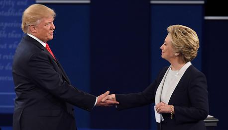 הילרי קלינטון ודונלד טראמפ ב עימות ה שני, צילום: איי אף פי