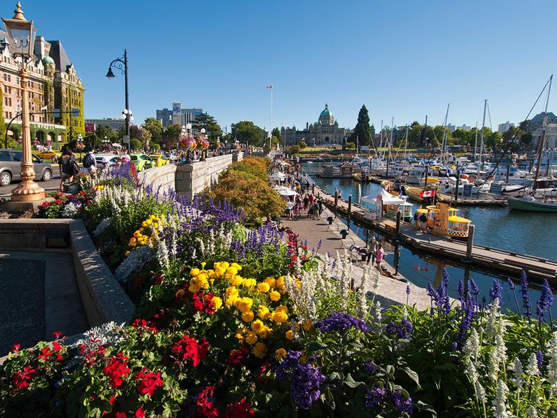 7. ויקטוריה, קנדה: האקלים הנוח ומיקומה בקצה הדרומי של אי ונקובר הופכים את ויקטוריה ליעד מושלם לפעילות בחוץ. האחוזות ההיסטוריות והגנים הציוריים מזמינים לצאת ולטייל