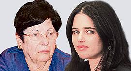מימין: השרה שקד והשופטת נאור, צילום: אלכס קולומויסקי, יאיר שגיא