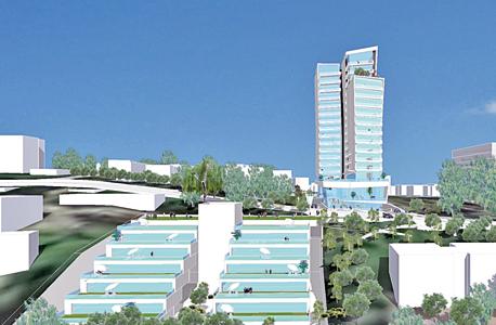 הדמיית המלון ומגורים במתחם מחנה מרכוס