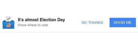 הבאנר של גוגל קורא למשתמשים להצביע