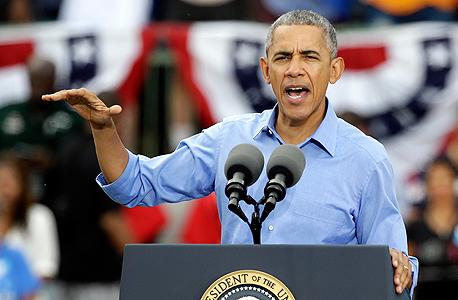 """ברק אובמה נשיא ארה""""ב בעצרת בחירות בפלורידה, צילום: איי פי"""