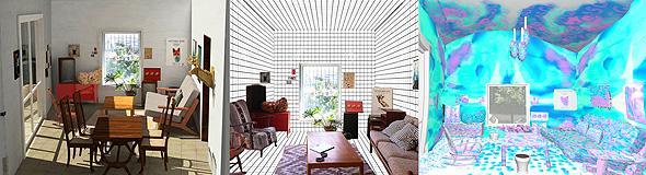 """המיצב האינטראקטיבי """"ליבינג רום"""" של גילי רון. משמאל הסלון האמיתי, באמצע הדגם שבמציאות המדומה, ומימין דימוי שמושפע ממצב רוחו של הצופה, כפי שנוטר ב־EEG"""
