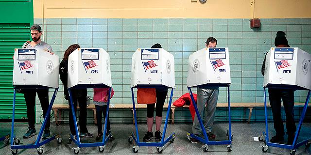 """מערכות הצבעה בבחירות 2016 בארה""""ב, צילום: איי אף פי"""