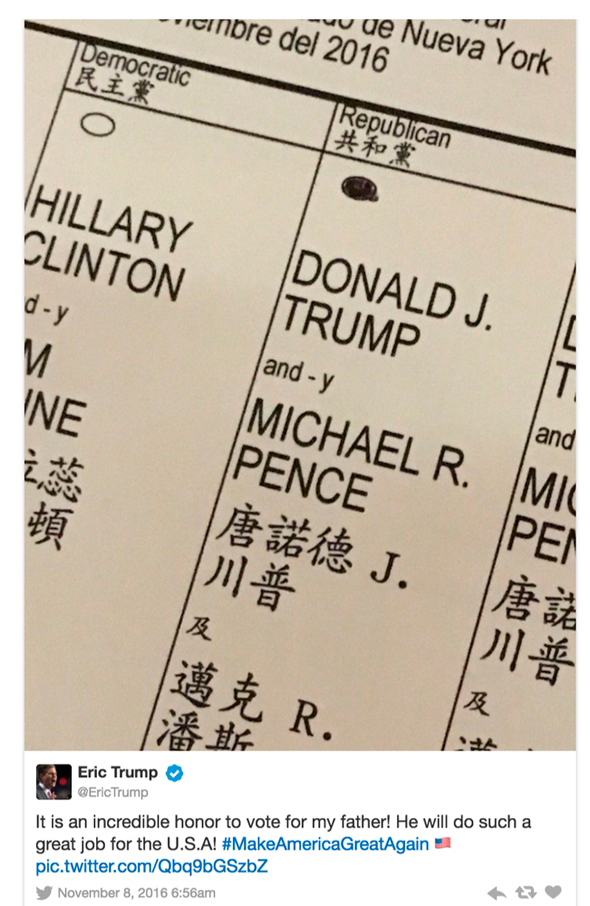 ציוץ של אריק טראמפ שכלל צילום של טופס ההצבעה שלו בניגוד לחוק בניו יורק, צילום: טוויטר