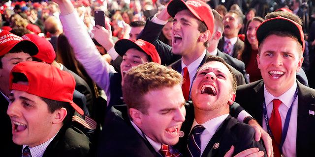 חגיגות הניצחון במטה טראמפ, צילום: רויטרס
