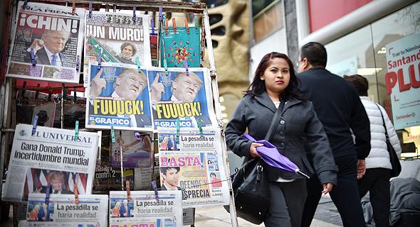 עיתונים במקסיקו מדווחים על ניצחונו של טראמפ. גירוש לא חוקי, צילום: איי אף פי