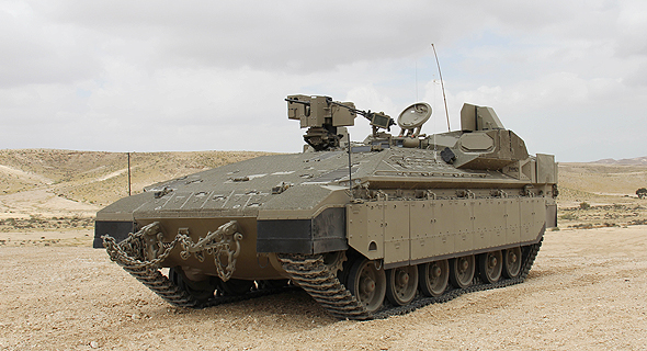 """גמ""""ש נמר עם מערכת הגנה מעיל רוח, צילום: מנהלת תכנית המרכבה במשרד הביטחון"""