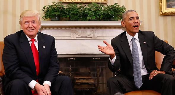 ברק אובמה ו דונלד טראמפ בבית הלבן 1, צילום: איי פי