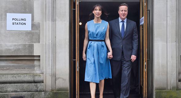 דיוויד קמרון ואשתו סמנתה ביום ההצבעה במשאל העם על הברקזיט, צילום: אי פי איי