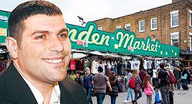 טדי שגיא על רקע שוק קמדן מרקט, צילום: אוראל כהן, שאטרסטוק