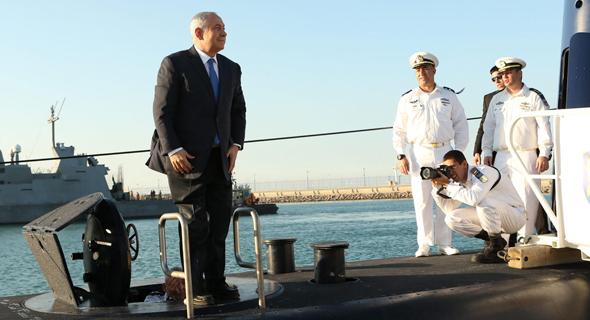 """בנימין נתניהו בטקס קבלת הצוללת אח""""י רהב, צילום: אלעד גרשגורן"""