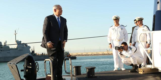 """ראש הממשלה בנימין נתניהו בטקס קבלת הצוללת אח""""י רהב, צילום: אלעד גרשגורן"""