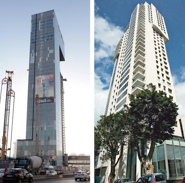 """מגדל רמז 6 (מימין) ומגדל אמות אטריום. """"כשבוחרים פרויקט רק לפי מחיר, התכנון פחות טוב"""", צילום: אוראל כהן"""