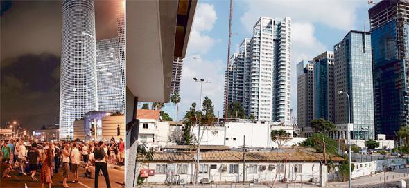 """מתחם רשות השידור, שבו יקום פרויקט יונייטד שרונה (מימין) והפגנות מול מגדלי עזריאלי ב-2011 (משמאל). """"בנייה לעשירים מגדילה היצע ומורידה מחירים"""", צילומים: עמית שעל, ענר גרין"""