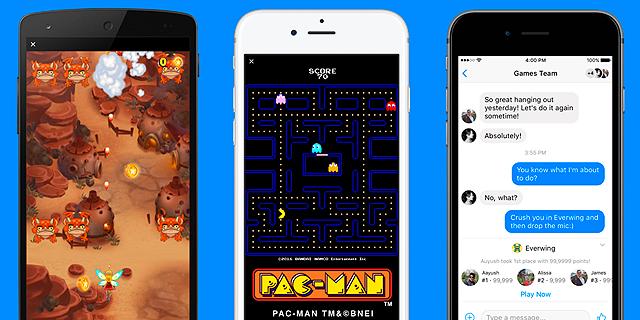 פק-מן מגיע למסנג'ר: פייסבוק משיקה משחקים באפליקציית הצ'ט