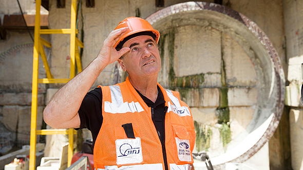 שר התחבורה ישראל כץ עבודות הרכבת הקלה תחנת ארלוזורוב תל אביב, צילום: אוראל כהן