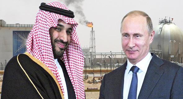 מוחמד בן סלמן נסיך הכתר סעודיה ולדימיר פוטין נשיא רוסיה על רקע חברת נפט ארמקו, צילום: Rex, רויטרס