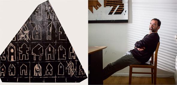 """מימין: ניני ורשבסקי בסטודיו שלו ופרט מהיצירה """"בתים כואבים"""". לא מפריד בין גוף לנפש או בין חומר לרגש"""
