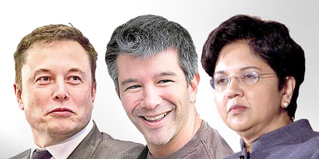 """הכוורת הכלכלית של טראמפ. מימין: אינדרה נואי, מנכ""""לית פפסיקו, מנכ""""ל אובר טרוויס קלניק ואלון מאסק מטסלה, צילום: בלומברג"""