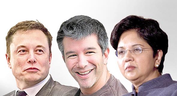 """מימין אינדרה נואי מנכ""""לית פפסיקו    מנכ""""ל אובר טרוויס קלניק אלון מאסק , צילום: בלומברג"""