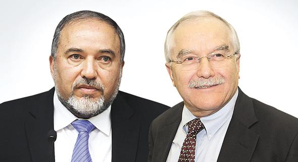מימין: שמיר וליברמן. שר הביטחון ערער באופן תקדימי על החלטת הוועדה הקודמת לפיה אין לאשר את המינוי בשל ניגוד ענייניו של המועמד