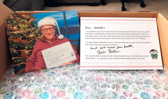 איגרת הברכה של ביל גייטס למשתמשת רדיט לכבוד חג המולד