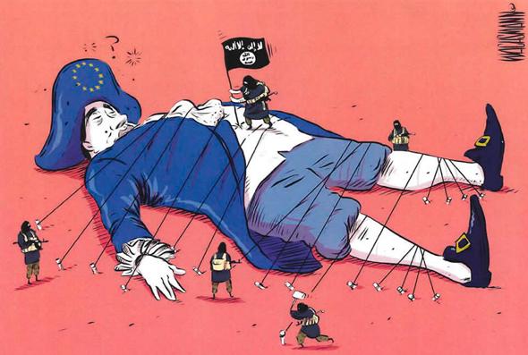 """הקריקטורה הזוכה. """"השתמשתי בדימוי של גוליבר כדי לשאול אם אירופה תתעורר"""""""