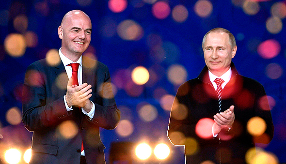 "ג'יאני אינפנטינו נשיא פיפ""א עם ולדימיר פוטין נשיא רוסיה, צילום: איי אף פי"