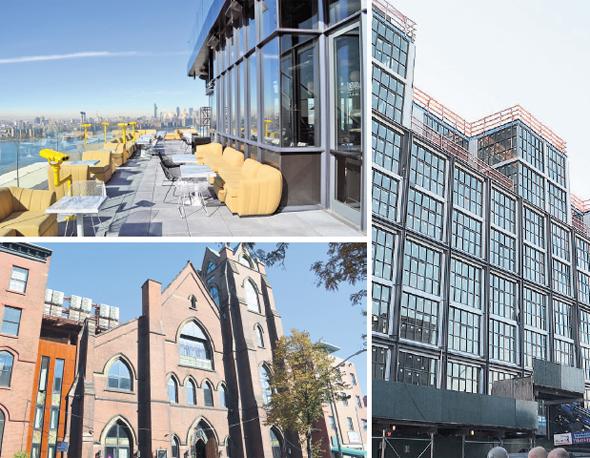 מימין: פרויקט פרנקלין של אולייר בברוקלין. 120 דירות להשכרה; למעלה משמאל: מלון William Vale,  נכס אישי של יואל גולדמן, הבעלים של אולייר; למטה משמאל: פרויקט North Flats של אולייר. כנסייה שהוסבה לדירות, צילום: אורן פרוינד