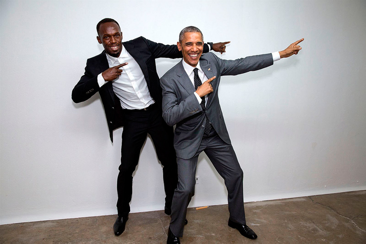 אפריל 2015. הנשיא פוגש את האיש המהיר ביותר בעולם, יוסיין בולט, במהלך ביקור בג'מייקה