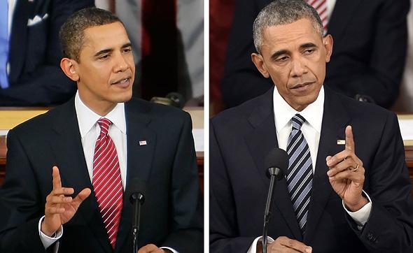 ברק אובמה לפני ואחרי, צילום: גטי אימג'ס