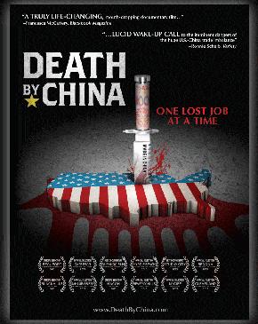 כרזת סרט התעודה Death by China האנטי־סיני, שהפיק וביים ראש המועצה הלאומית לסחר פיטר נבארו