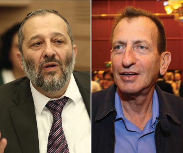 מימין: ראש עיריית תל אביב רון חולדאי ו שר הפנים אריה דרעי, צילום: עמית שעל, דוברות הכנסת