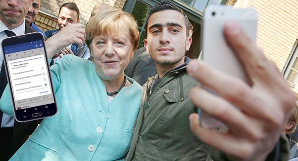 מימין הפליט הסורי אנאס מודמאני ו קנצלרית גרמניה אנגלה מרקל פייסבוק, צילום: גטי אימג'ס