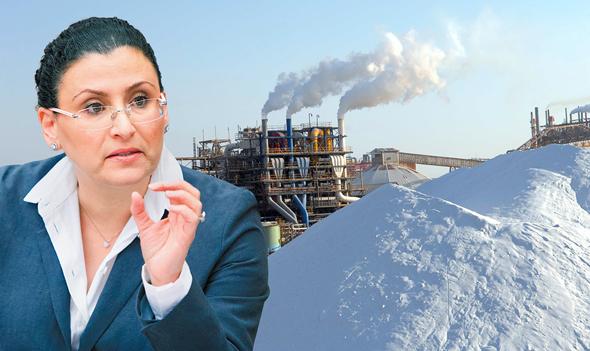 מיכל עבאדי בויאנג'ו על רקע מפעלי ים המלח