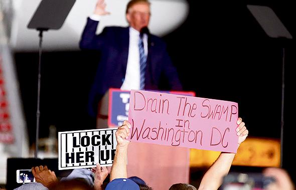 """מפגין אוחז בשלט """"לייבש את הביצה בוושינגטון"""" בעצרת למען טראמפ לפני הבחירות. """"טראמפ יצר אלמנט בידורי, של תוכנית ריאליטי. רבים אמרו לעצמם 'מה כבר יקרה'"""""""