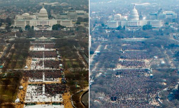 מימין הקפיטל בהשבעתו הראשונה של ברק אובמה ובהשבעתו של דונלד טראמפ הבדל בכמות הקהל, צילום: איי פי