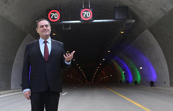 שר התחבורה ישראל כץ ב טקס פתיחת מנהרות הראל, צילום: אלכס קולומויסקי